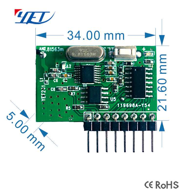 315Mhz wireless receiver superheterodyne module size.