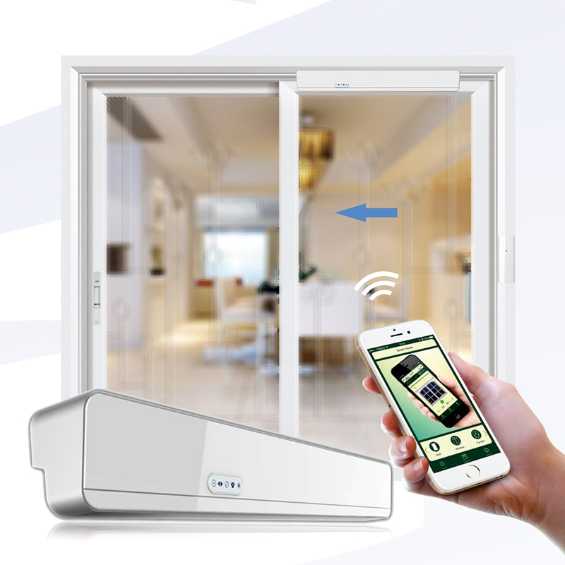 Automatic sliding door/window opener YET880 kit can be controlled by mobile wifi.