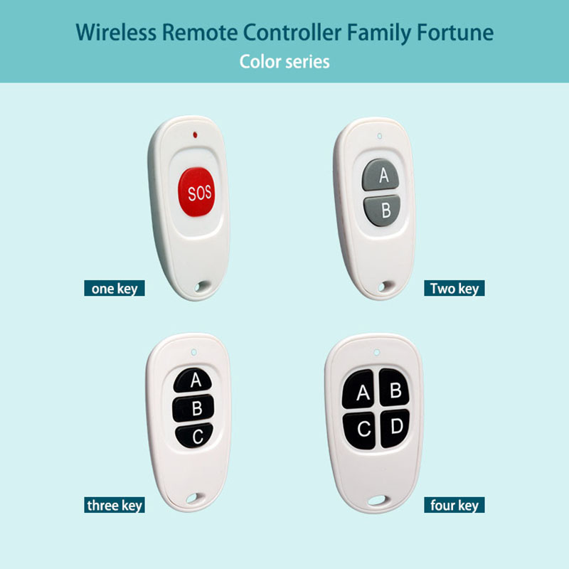 RF universal long range wireless remote control has one to four keys.