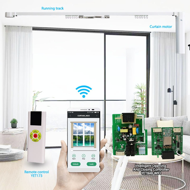 Wireless multi-channel remote control can control electric curtain.