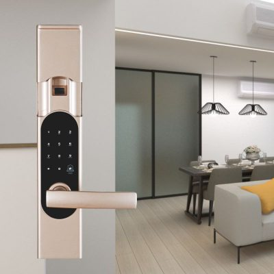 Smart fingerprint door lock can be used in bedroom.