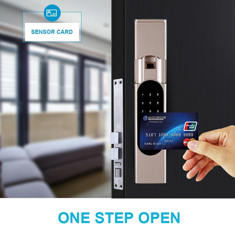The smart fingerprint door lock can be unlocked using a card.