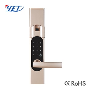 Smart Slide Cover Fingerprint Door Lock With Double Key And Card YET903