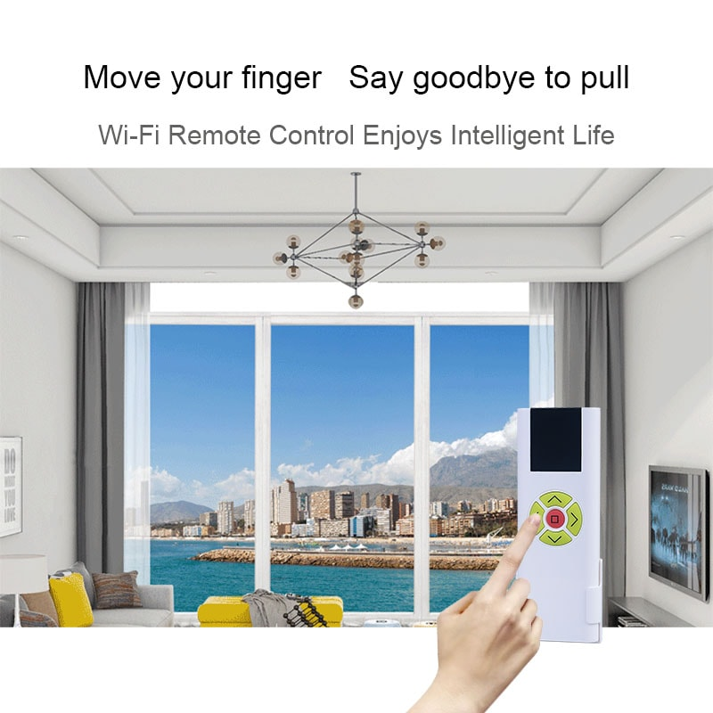 Electric curtain wifi controller can be controlled by remote control.